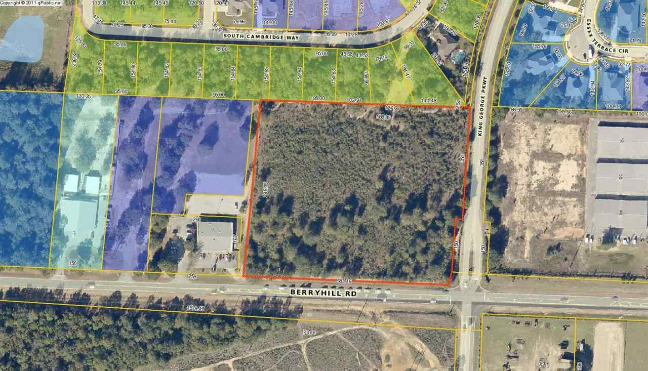 Perfect timing for commercial retail development. Prime location on the corner of Berryhill Road and King George Parkway with great accessibility for the numerous new and existing subdivisions in North Pace. The community of Pace is a vibrant area that has become a premier choice for residency in northwest Florida. 6.906 Acres - All required utilities are available to the site. Site conditions relative to topography, soils and visibility are ideal. The essential traffic signal at the intersection of Berryhill and King George Parkway are in place. *Perfect opportunity for restaurant, bank, or retail development. *Land Size- 6.906 AC +/- *Frontage- 583.16' *Dimensions- 583.16 x 248 x 588 x 500 ' *Decel in place *Lighted Intersection *Hard Corner